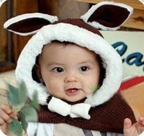 Brown - Lindo Bebé Niñas Niños Conejo Coreano Abrigo Pu-3885