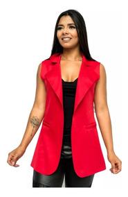 Colete Maxi Comprido Longo Neoprene Roupas Femininas Moda