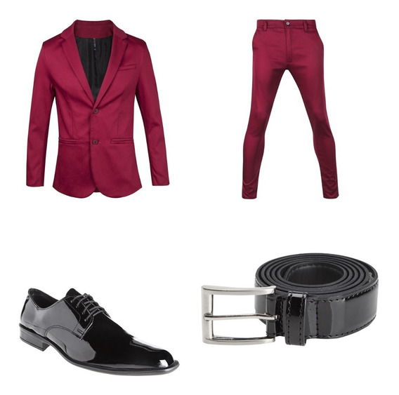 Zapatos Y Cinto De Vestir Con Chupin Y Saco Satinado Import