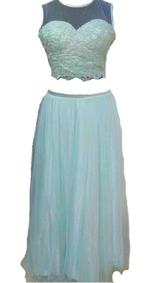 Vestidos De 15 Verde Agua Top Y Falda Talle S Sabah Desing