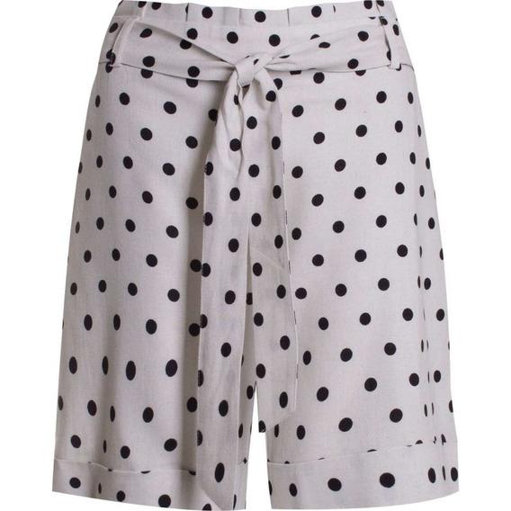 Shorts Linho E Vicose Estampa De Poá Seiki 360216 - Bege