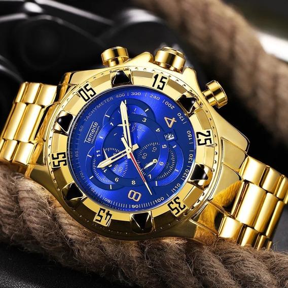 Reloj Hombre Temeite Grande Resistente Agua De Lujo Acero