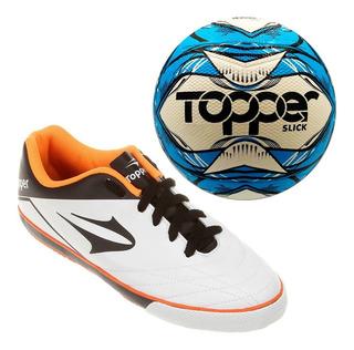 2 Tênis Topper Futsal Frontier + Bola Futsal
