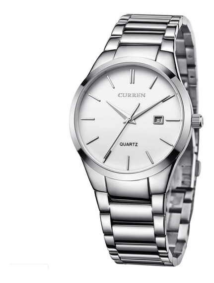 Relógio Masculino Curren Analógico 8106 - Prata E Branco
