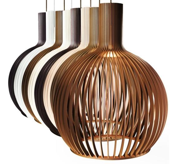 Lustre Octo De Madeira Luminária C/ Design Moderno 38x46cm