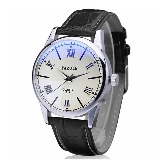 Reloj Acero Cuarzo Marca Yazole Modelo 313 Blanco/negro
