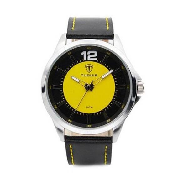 Relógio Masculino Analógico 5018 Tuguir Preto E Amarelo