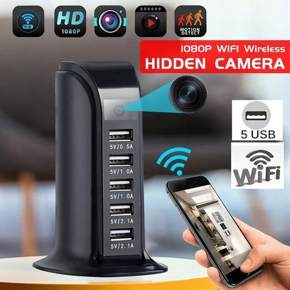 Carregador Espião Com Câmera Wifi 5 Portas De Carregamento