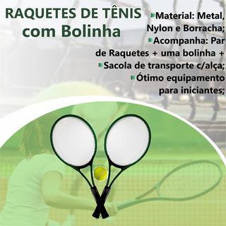 Kit C/2 Raquetes De Tênis C/ Bolinha Cor Verde Iniciantes