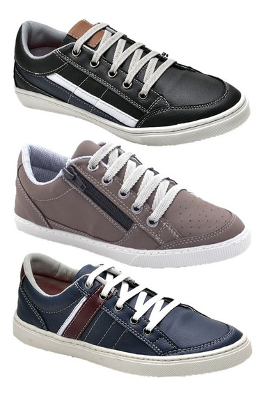 Sapato Infantil Sapatenis Kit 3 Pares Barato