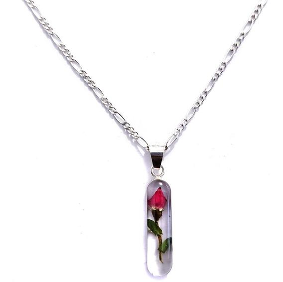 Dije Collar Rosa Natural Incluye Cadena 100% Plata 925