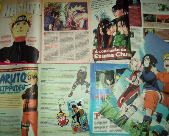 Lote Poster Adesivo Materia De Revista E Chaveiro Naruto