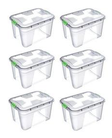 6 Caixas Organizadoras Multiuso Plásticas 20 Litros Kit