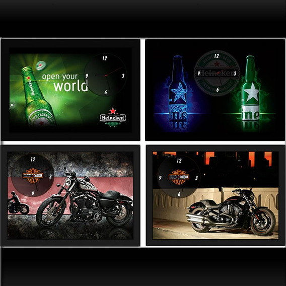 Quadro Relógio De Parede Heineken, Harley, Coca Cola, Budwei