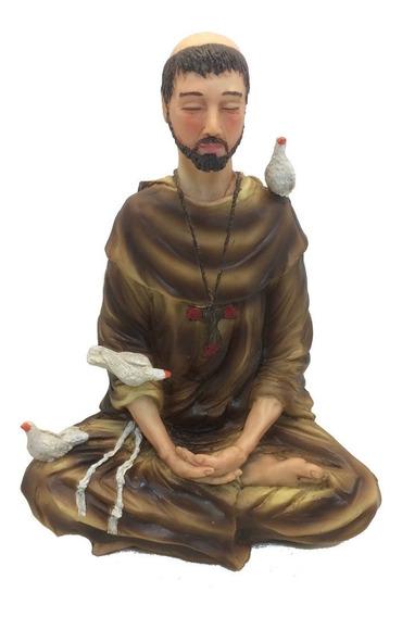 São Francisco De Assis Meditando Lótus Estatueta
