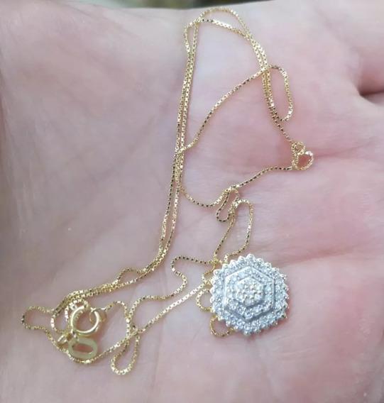 Cordão E Pingente Hstern Com Muito Diamantes Ouro Amarelo