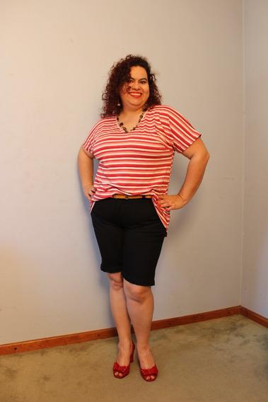 Bermuda Longuinha Jeans Preta Com Elastano Plus Size 46ao 58