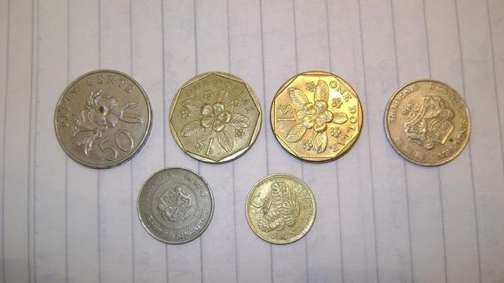 6 Monedas Singapur 3 ,19 , 29 ,50 Centavos, 1 Dolar Lote 7.4