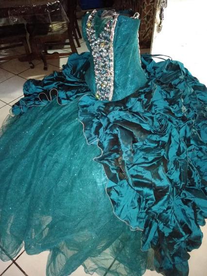 Vestido De Xv Años, Azul Jade