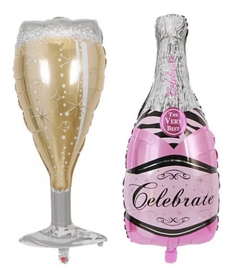 1 Globo Botella De Champagne Rose + 1 Globo Copa Despedidas