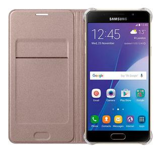 Estuche Forro Samsung A7 2016 Flip Wallet Cover Dorado
