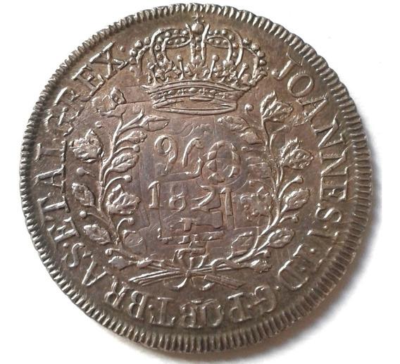 Império 960 Reis 1821 R - Prata - Sob+ - Saiu De Coleção