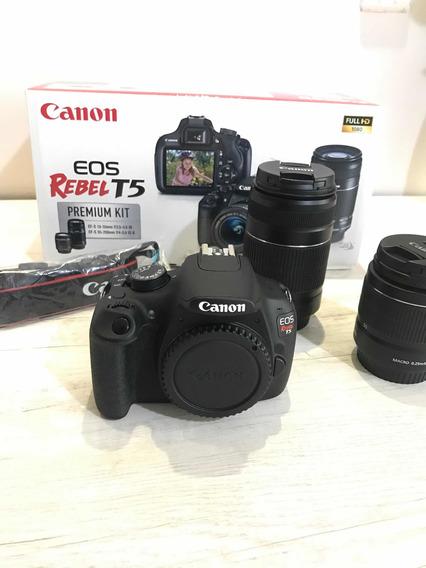 Câmera Canon T5 Kit Premium +sd + Bolsa Para Transporte