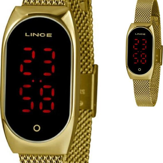 Relógio Feminino Lince Dourado Original Led Ldg4641l Pxkx
