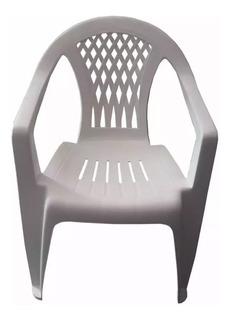 Silla Sillon Reforzado Plastico Blanco De Jardin