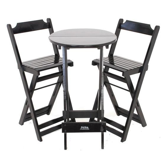 Jogos De Mesa Bar Bistrô 2 Cadeiras Dobrável Em Madeira