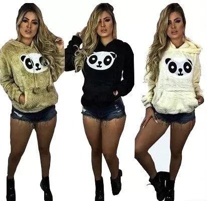 Blusa Casaco De Frio Feminino De Pelucia Panda