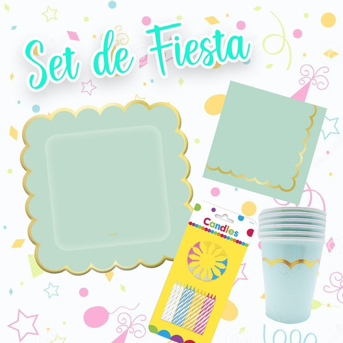 Imagen 1 de 5 de Set O Kit De Fiesta Aguamarina Para Cualquier Ocasión