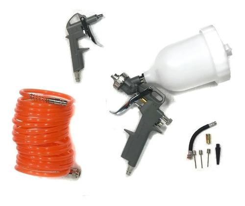 Imagen 1 de 3 de Kit 3 Pz Compresor Pistola Aire Pintar Infla Acople Manguera