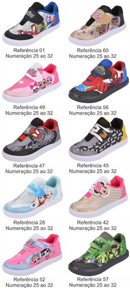 Kit 8 Pares Tênis Infantil Estampas Personagens Atacado