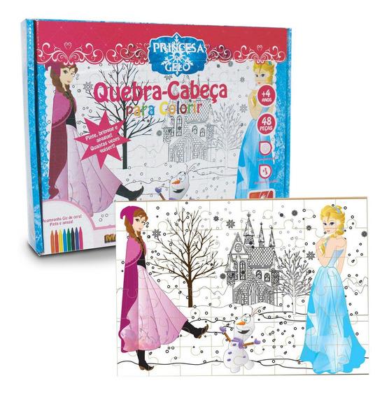Kit Quebra-cabeças Colorir 48 Peças + 10 Canetinha Coloridas