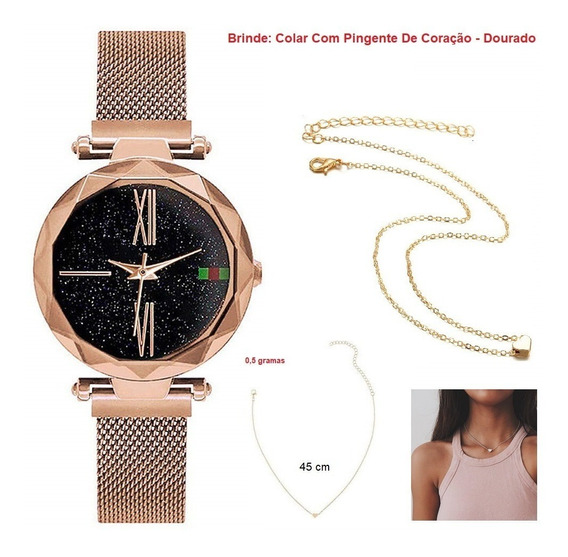 Relógio Feminino + Caixinha + Colar Pingente Coração