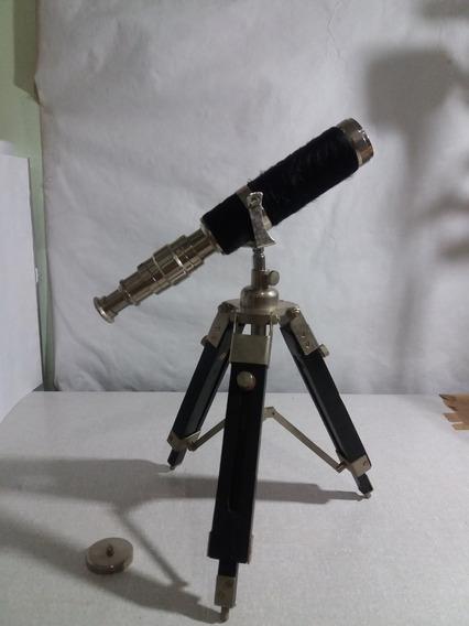 Antiga Luneta Telescópio Metal Tripé De Madeira P/ Restauro