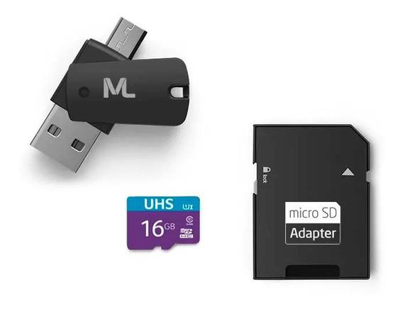 Cartao De Memoria Sd 16gb Multilaser + Adaptadores