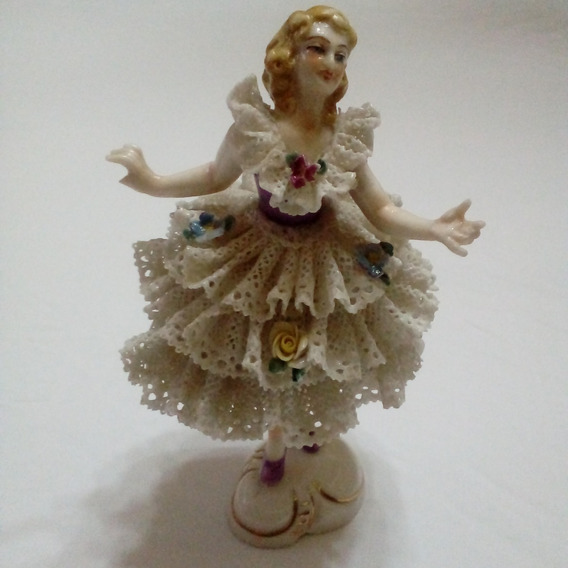 Antigua Figura Bailarina De Porcelana Dresden Alemana