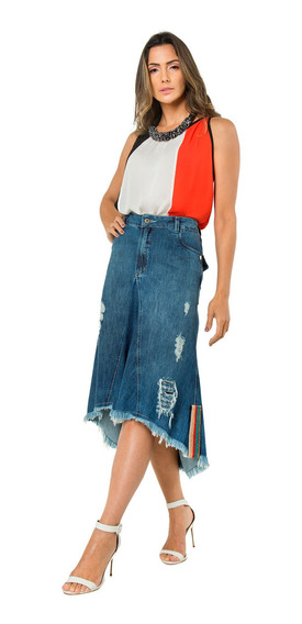 Saia Jeans Mullet Midi Evangélica Destroyed Moda Feminina