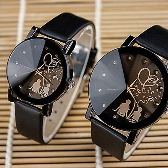 Moda Casal Relógio Pulseira De Couro Analógico Quartzo B