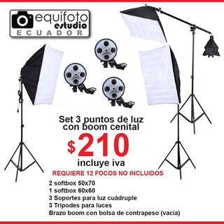 Kit De Fotografía Y Video 3 Softbox Con Boom Cenital
