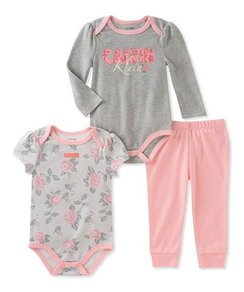 Calvin Klein Conjunto De Tres Piezas Bebé Niña 6-9 Meses