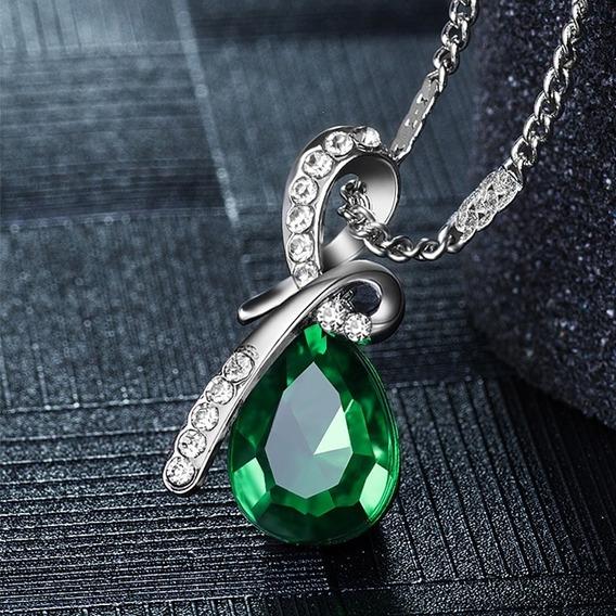 Hermoso Collar Con Dije De Gota De Agua, Verde P. Regalo