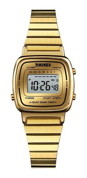 Relógio Skmei 1252 Feminino Luxo Aço Inox Dourado Delicado