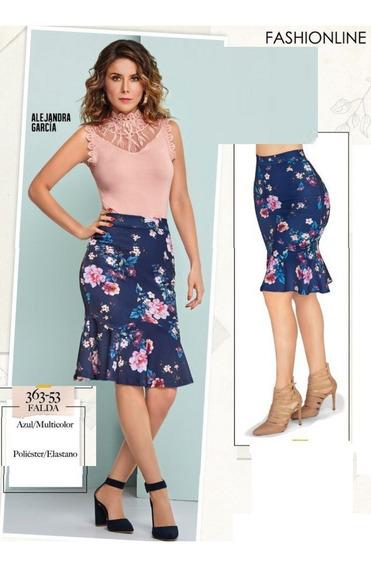 Falda Cklass Azul Floral 363-53 Otoño Invierno 2018 Nueva