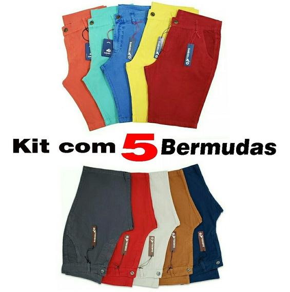 Kit 5 Bermudas Coloridas Shorts Brim Sarja Baratas Promoção