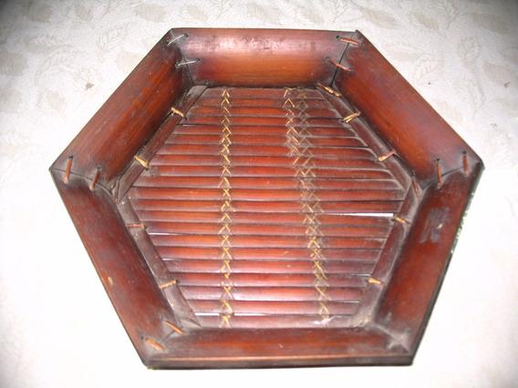 Centro De Mesa Frutera Hexagonal De Caña De Bambu 32 X 37,5