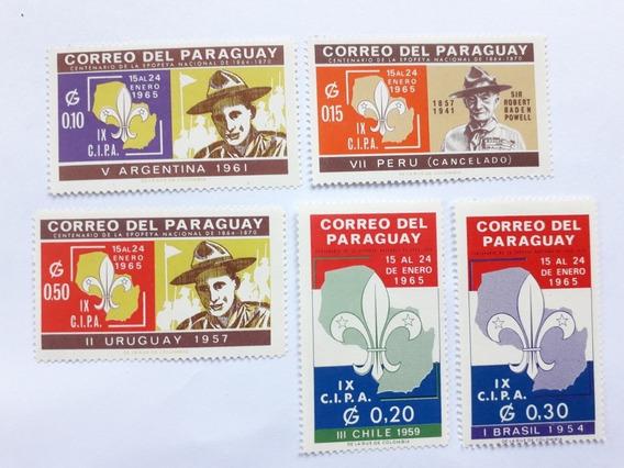Serie 5 Estampillas Conmemorativas De Boy Scout De Paraguay