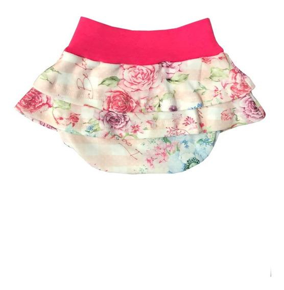 Kit 3 Calcinha Infantil Menina Estampa Floral Tapa Fralda